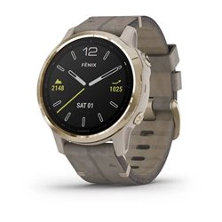 fenix 6S - Light Gold-tone with Shale Gray Leather Band