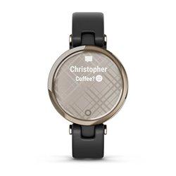 Смарт-годинник Garmin Lily CLASSIC Золотий безель з чорним корпусом і італійським шкіряним ремінцем