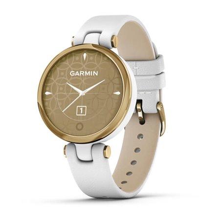 Смарт-годинник Garmin Lily CLASSIC Безель зі світлого золота з білим корпусом і італійським шкіряним ремінцем
