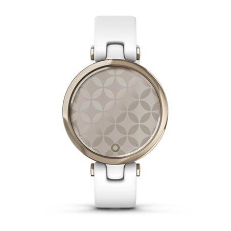 Смарт-годинник Garmin Lily SPORT з кремово-золотистим безелем, білим корпусом та силіконовим ремінцем