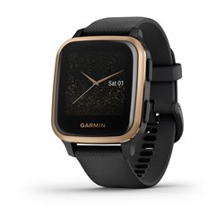 Смарт-часы Garmin Venu Sq Music Edition с розово-золотистым безелем, черным корпусом и силиконовым ремешком