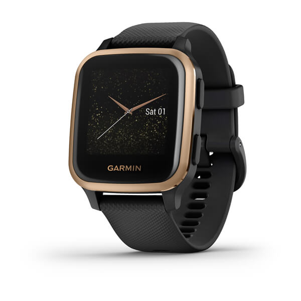 Смарт-годинник Garmin Venu Sq Music Edition з рожево-золотистим безелем, чорним корпусом та силіконовим ремінцем