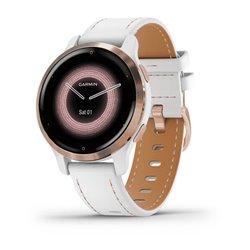 Смарт-годинник Garmin Venu 2S білий з рожево-золотистим безелем і шкряним ремінцем