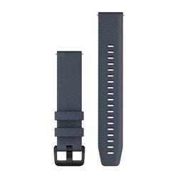Швидкозмінні ремінці Garmin силіконові (20 мм) гранітно-сині з чорною фурнітурою із нержавіючої сталі