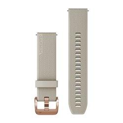 Швидкозмінні ремінці Garmin силіконові (20 мм) світло-пісочні з рожево-золотистою фурнітурою