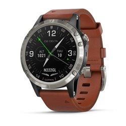 Смарт-годинник D2 Delta із коричневим шкіряним ремінцем