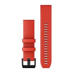Ремінці для годинника Garmin QuickFit 22 силіконові, лазерно-червоні з чорною сталевою фурнітурою