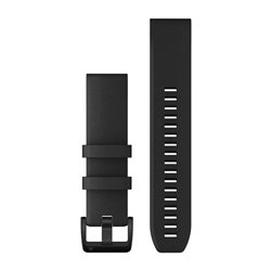 Ремінці для годинника Garmin QuickFit 22 силіконові, чорні з чорною сталевою фурнітурою