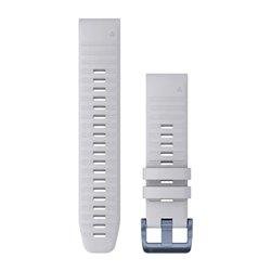 Ремінці для годинника Garmin QuickFit 22 силіконові, білі з мінерально-синьою фурнітурою