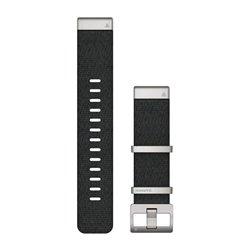 Ремінці для годинника Garmin QuickFit 22 нейлонові жаккардового плетіння, чорні зі сріблястою фурнітурою